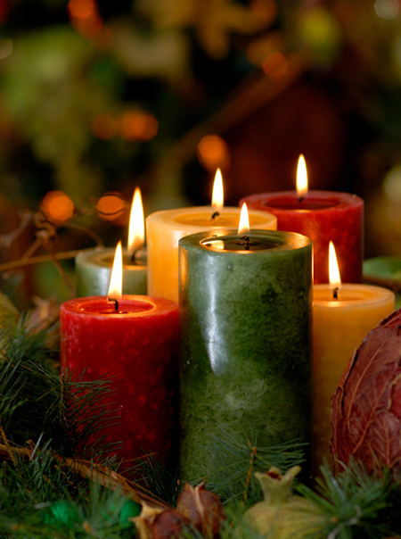 Carla Gozzi Christmas holiday candles in home interior
